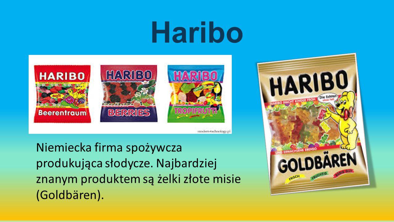 Haribo Niemiecka firma spożywcza produkująca słodycze. Najbardziej znanym produktem są żelki złote misie (Goldbären).