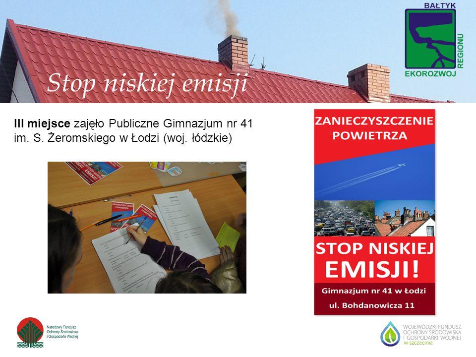 III miejsce zajęło Publiczne Gimnazjum nr 41 im. S. Żeromskiego w Łodzi (woj. łódzkie)
