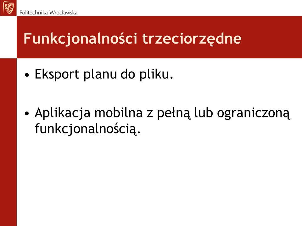 Funkcjonalności trzeciorzędne Eksport planu do pliku.