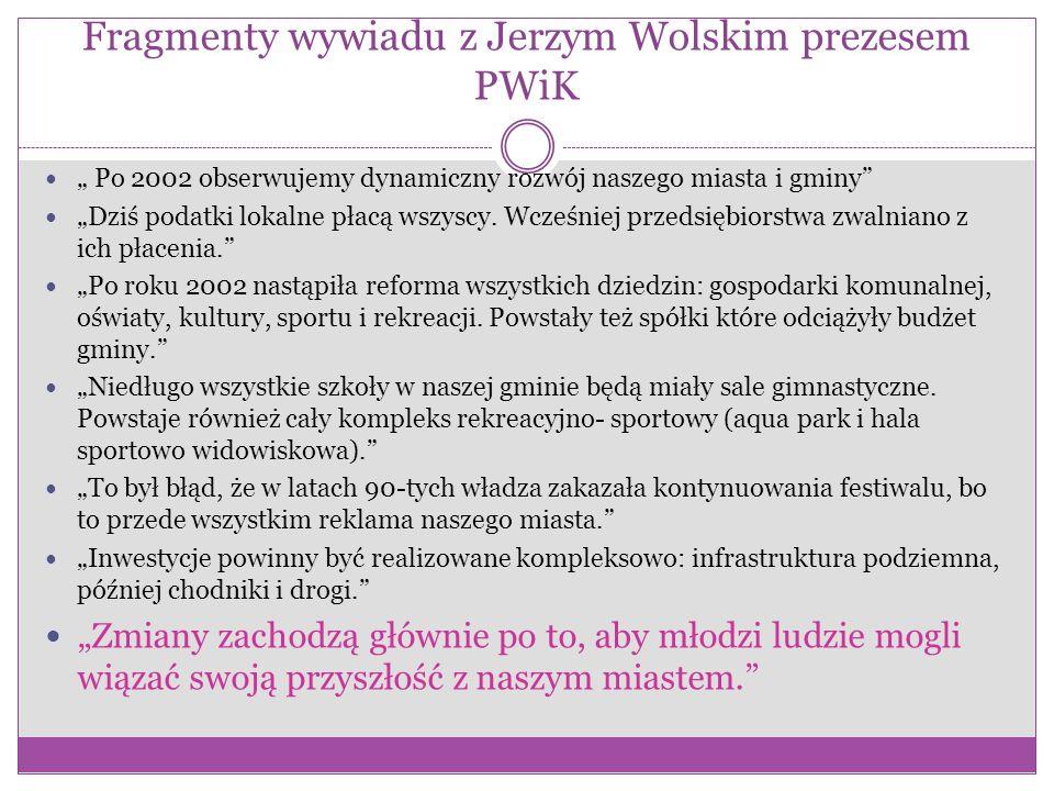 """Fragmenty wywiadu z Jerzym Wolskim prezesem PWiK """" Po 2002 obserwujemy dynamiczny rozwój naszego miasta i gminy """"Dziś podatki lokalne płacą wszyscy."""