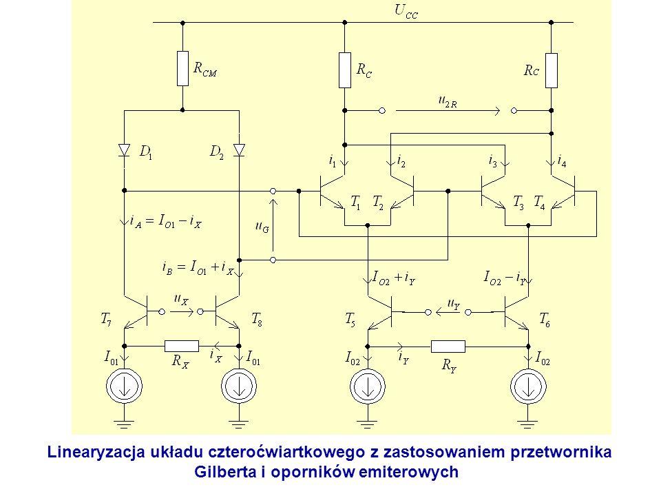 Linearyzacja układu czteroćwiartkowego z zastosowaniem przetwornika Gilberta i oporników emiterowych