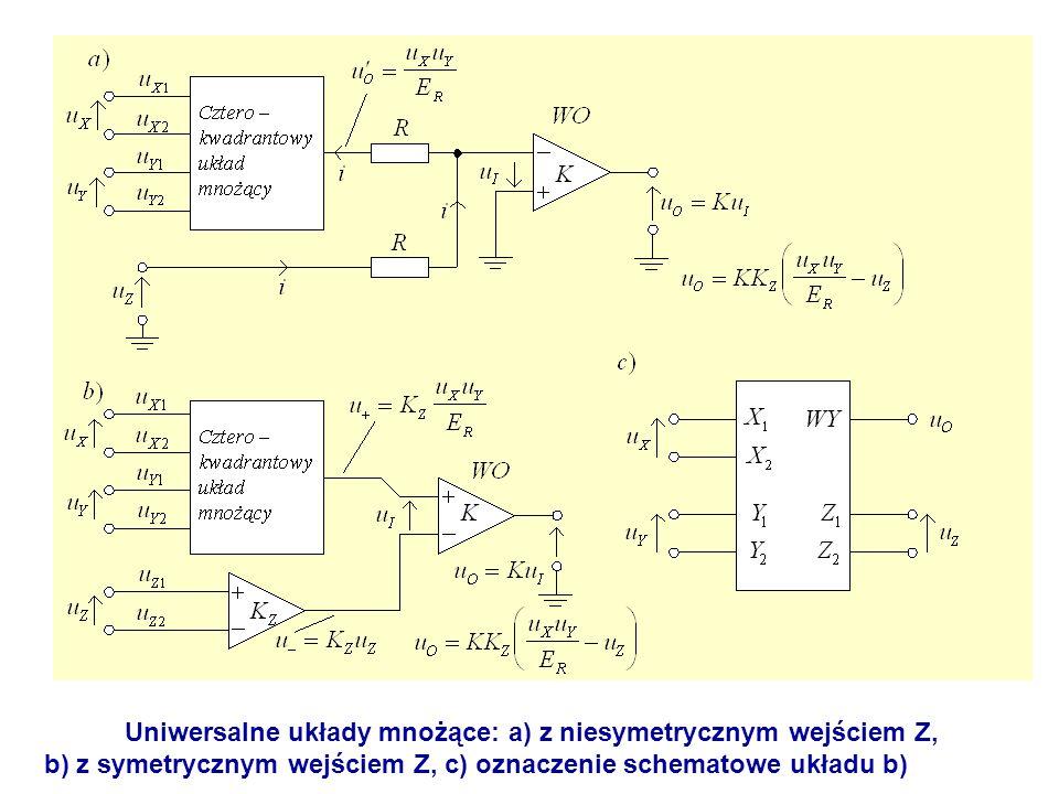Uniwersalne układy mnożące: a) z niesymetrycznym wejściem Z, b) z symetrycznym wejściem Z, c) oznaczenie schematowe układu b)