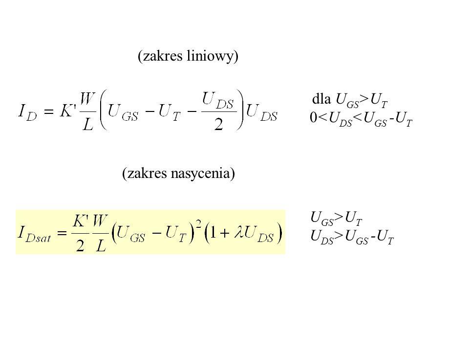 dla U GS >U T 0<U DS <U GS -U T (zakres liniowy) (zakres nasycenia) U GS >U T U DS >U GS -U T