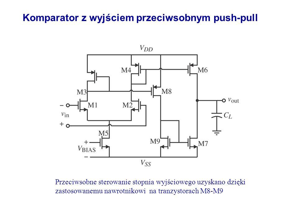Komparator z wyjściem przeciwsobnym push-pull Przeciwsobne sterowanie stopnia wyjściowego uzyskano dzięki zastosowanemu nawrotnikowi na tranzystorach