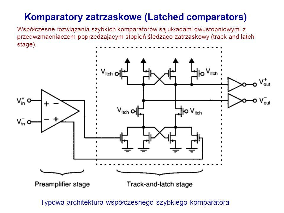 Komparatory zatrzaskowe (Latched comparators) Współczesne rozwiązania szybkich komparatorów są układami dwustopniowymi z przedwzmacniaczem poprzedzają
