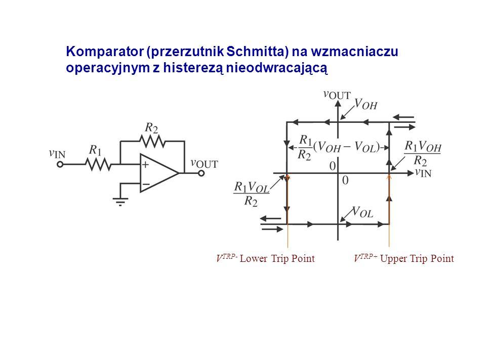 V TRP+ Upper Trip Point Komparator (przerzutnik Schmitta) na wzmacniaczu operacyjnym z histerezą nieodwracającą V TRP- Lower Trip Point