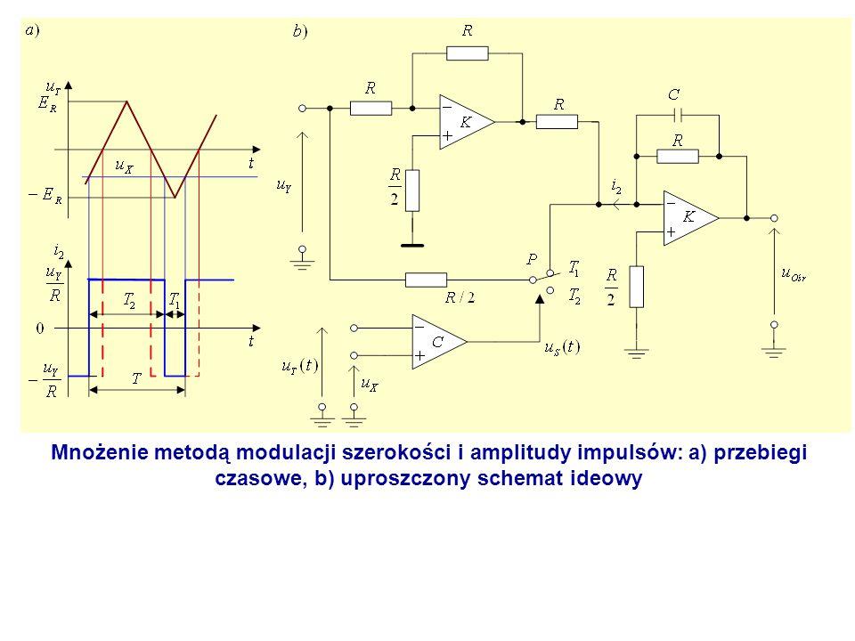 Mnożenie metodą modulacji szerokości i amplitudy impulsów: a) przebiegi czasowe, b) uproszczony schemat ideowy