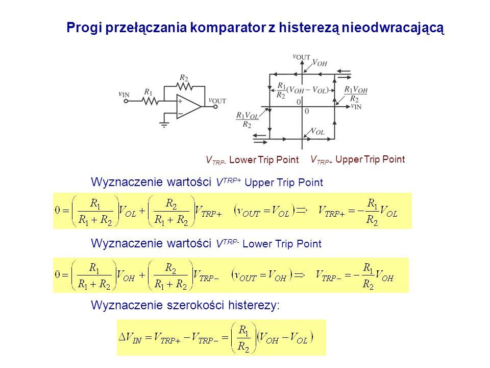 Wyznaczenie wartości V TRP+ Upper Trip Point Progi przełączania komparator z histerezą nieodwracającą Wyznaczenie wartości V TRP- Lower Trip Point V T
