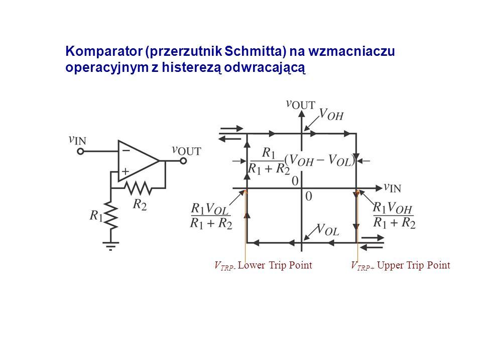 V TRP+ Upper Trip Point Komparator (przerzutnik Schmitta) na wzmacniaczu operacyjnym z histerezą odwracającą V TRP- Lower Trip Point