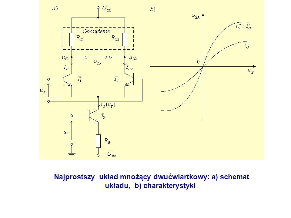 Najprostszy układ mnożący dwućwiartkowy: a) schemat układu, b) charakterystyki