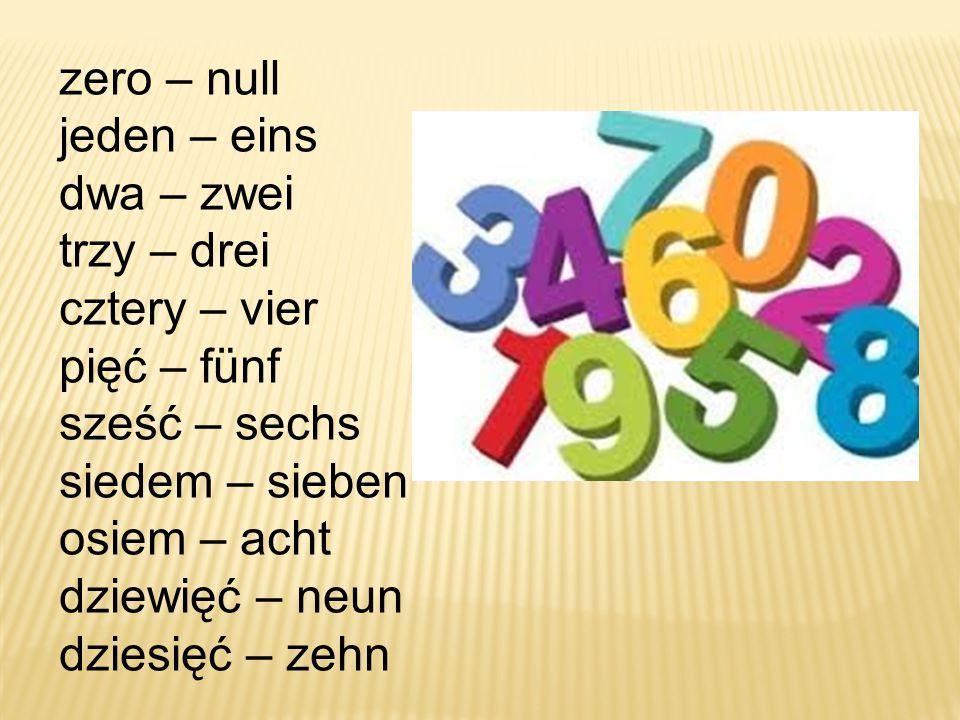 zero – null jeden – eins dwa – zwei trzy – drei cztery – vier pięć – fünf sześć – sechs siedem – sieben osiem – acht dziewięć – neun dziesięć – zehn