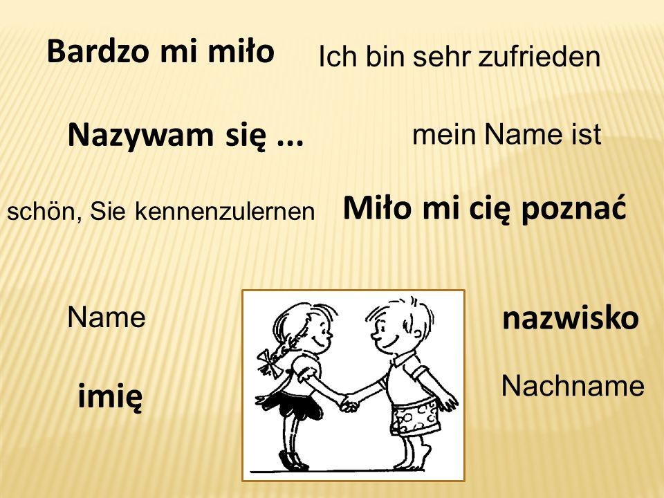 nazwisko Nazywam się... mein Name ist Name imię Nachname Miło mi cię poznać Ich bin sehr zufrieden Bardzo mi miło schön, Sie kennenzulernen