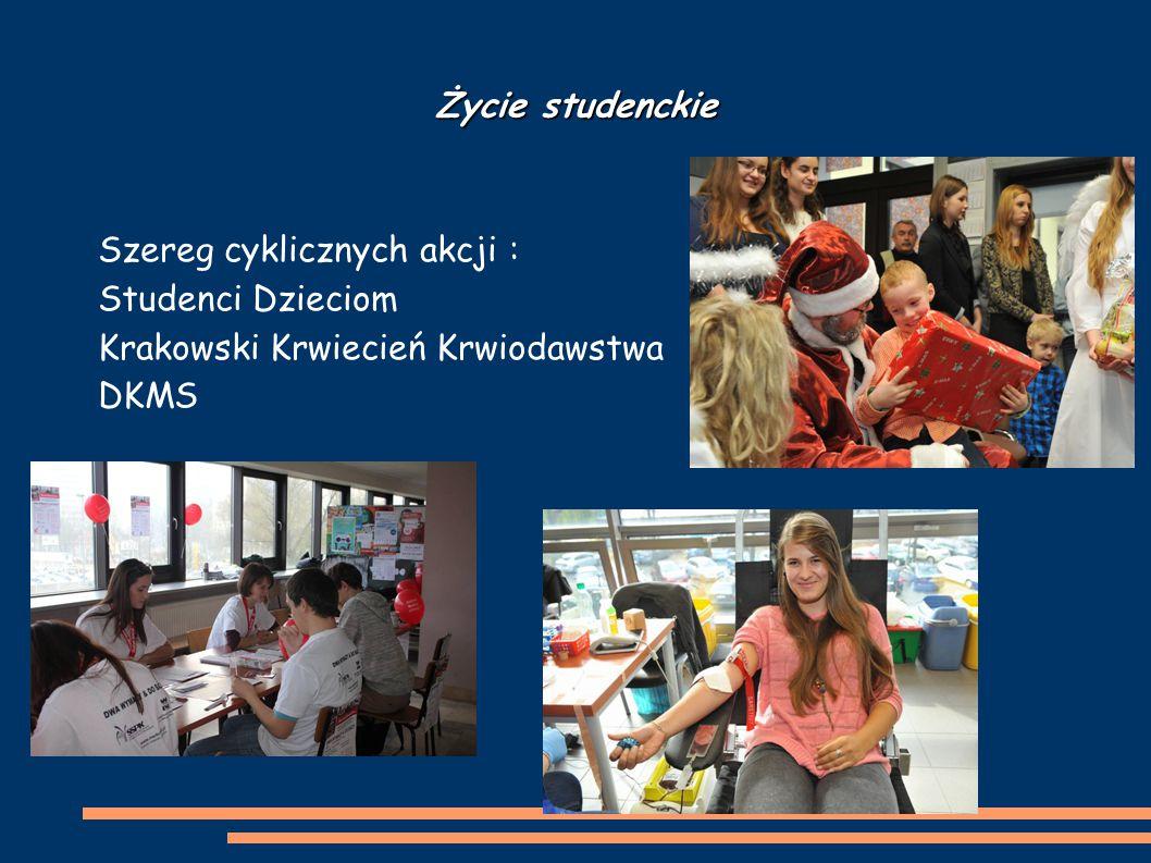 Życie studenckie Szereg cyklicznych akcji : Studenci Dzieciom Krakowski Krwiecień Krwiodawstwa DKMS
