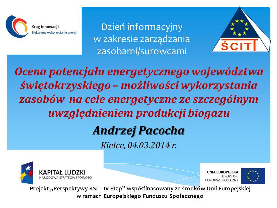 Dzień informacyjny w zakresie zarządzania zasobami/surowcami Ocena potencjału energetycznego województwa świętokrzyskiego – możliwości wykorzystania z