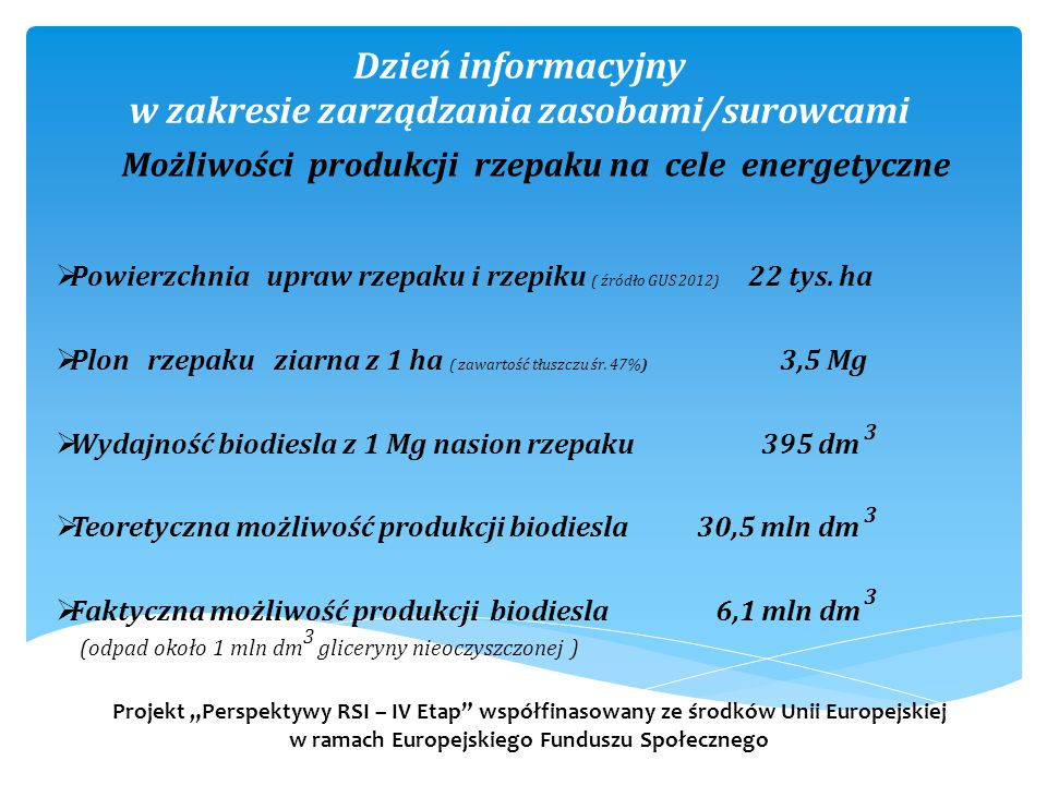 Dzień informacyjny w zakresie zarządzania zasobami/surowcami  Powierzchnia upraw rzepaku i rzepiku ( źródło GUS 2012) 22 tys. ha  Plon rzepaku ziarn