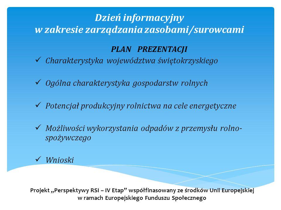 Dzień informacyjny w zakresie zarządzania zasobami/surowcami PLAN PREZENTACJI Charakterystyka województwa świętokrzyskiego Ogólna charakterystyka gosp