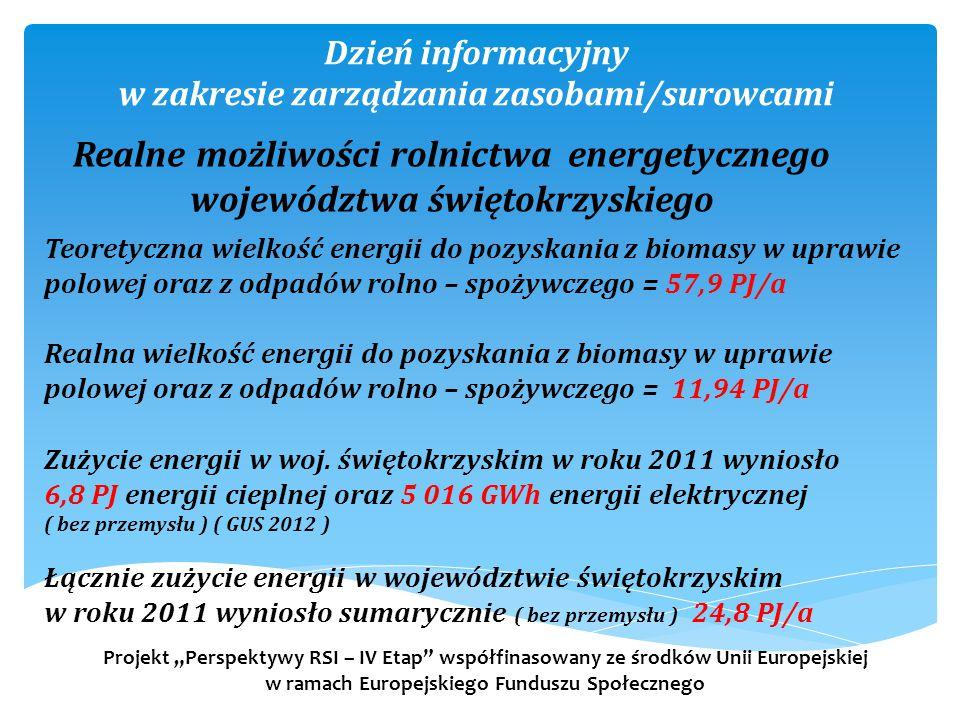 """Dzień informacyjny w zakresie zarządzania zasobami/surowcami Projekt """"Perspektywy RSI – IV Etap współfinasowany ze środków Unii Europejskiej w ramach Europejskiego Funduszu Społecznego Realne możliwości rolnictwa energetycznego województwa świętokrzyskiego Teoretyczna wielkość energii do pozyskania z biomasy w uprawie polowej oraz z odpadów rolno – spożywczego = 57,9 PJ/a Realna wielkość energii do pozyskania z biomasy w uprawie polowej oraz z odpadów rolno – spożywczego = 11,94 PJ/a Zużycie energii w woj."""