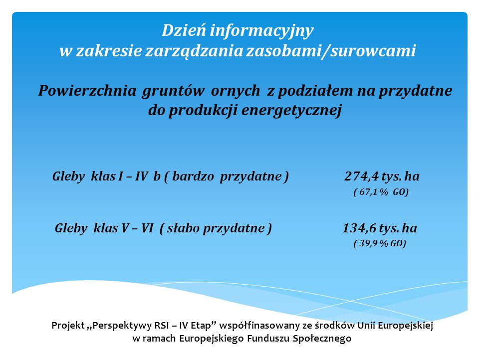 Dzień informacyjny w zakresie zarządzania zasobami/surowcami Gleby klas I – IV b ( bardzo przydatne ) 274,4 tys. ha ( 67,1 % GO) Gleby klas V – VI ( s