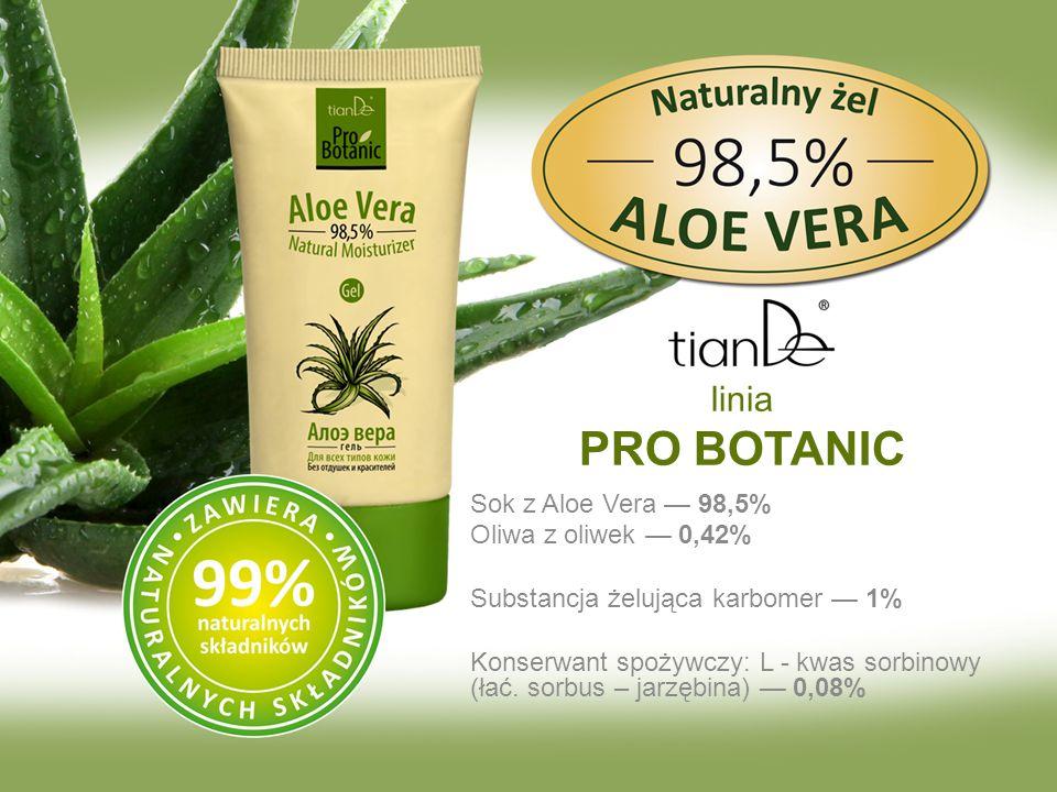Sok z Aloe Vera — 98,5% Oliwa z oliwek — 0,42% Substancja żelująca karbomer — 1% Konserwant spożywczy: L - kwas sorbinowy (łać. sorbus – jarzębina) —