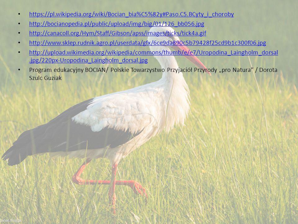"""https://pl.wikipedia.org/wiki/Bocian_bia%C5%82y#Paso.C5.BCyty_i_choroby http://bocianopedia.pl/public/upload/img/big/01/126_bb056.jpg http://canacoll.org/Hym/Staff/Gibson/apss/images/ticks/tick4a.gif http://www.sklep.rudnik.agro.pl/userdata/gfx/6ce9da890c5b79428f25cd9b1c300f06.jpg http://upload.wikimedia.org/wikipedia/commons/thumb/e/e7/Uropodina_Laingholm_dorsal.jpg/220px-Uropodina_Laingholm_dorsal.jpg http://upload.wikimedia.org/wikipedia/commons/thumb/e/e7/Uropodina_Laingholm_dorsal.jpg/220px-Uropodina_Laingholm_dorsal.jpg Program edukacyjny BOCIAN/ Polskie Towarzystwo Przyjaciół Przyrody """"pro Natura / Dorota Szulc Guziak"""