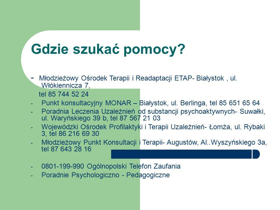 Gdzie szukać pomocy? - Młodzieżowy Ośrodek Terapii i Readaptacji ETAP- Białystok, ul. Włókiennicza 7, tel 85 744 52 24 - Punkt konsultacyjny MONAR – B