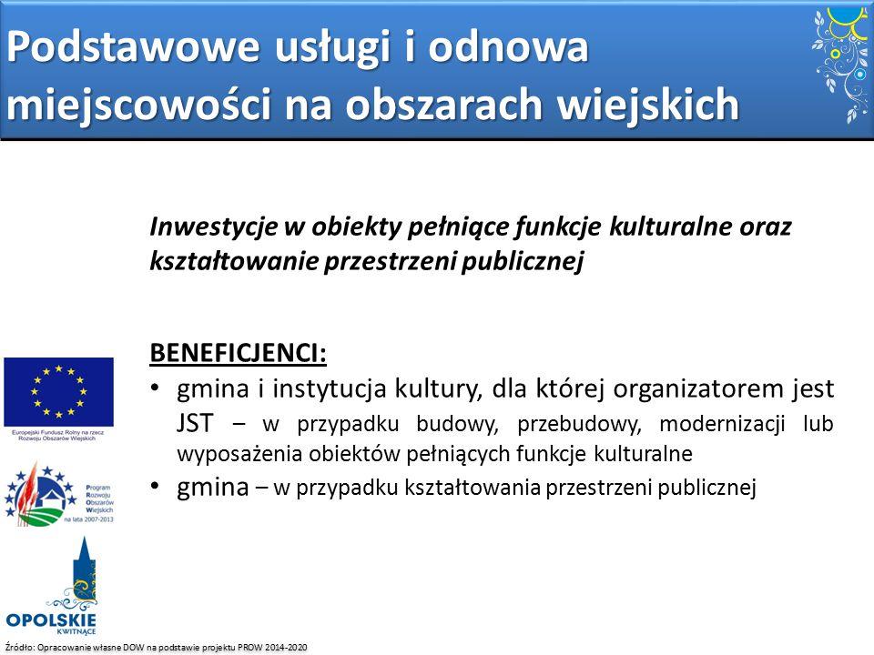 Źródło: Opracowanie własne DOW na podstawie projektu PROW 2014-2020 Inwestycje w obiekty pełniące funkcje kulturalne oraz kształtowanie przestrzeni pu