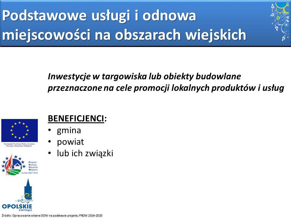 Źródło: Opracowanie własne DOW na podstawie projektu PROW 2014-2020 Inwestycje w targowiska lub obiekty budowlane przeznaczone na cele promocji lokaln
