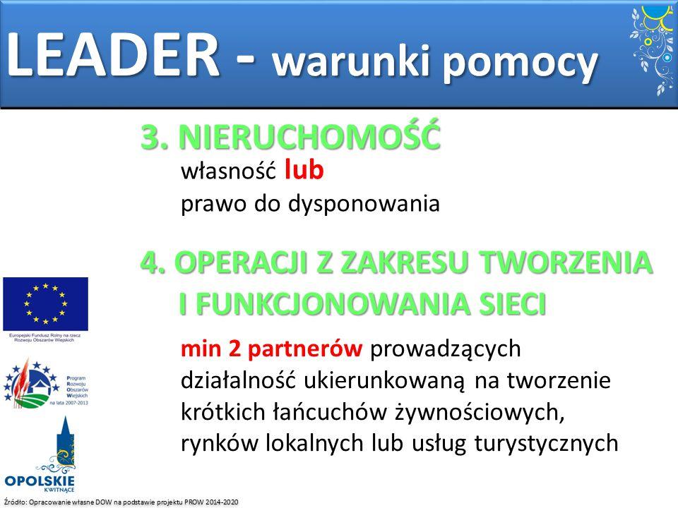 Źródło: Opracowanie własne DOW na podstawie projektu PROW 2014-2020 LEADER - warunki pomocy 3. NIERUCHOMOŚĆ własność lub prawo do dysponowania 4. OPER