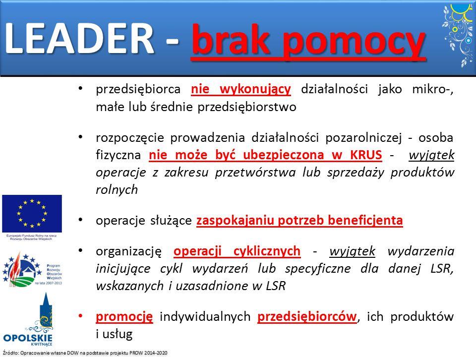 Źródło: Opracowanie własne DOW na podstawie projektu PROW 2014-2020 LEADER - brak pomocy przedsiębiorca nie wykonujący działalności jako mikro-, małe