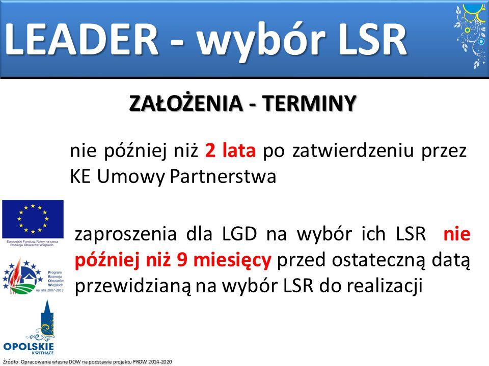 Źródło: Opracowanie własne DOW na podstawie projektu PROW 2014-2020 zaproszenia dla LGD na wybór ich LSR nie później niż 9 miesięcy przed ostateczną d