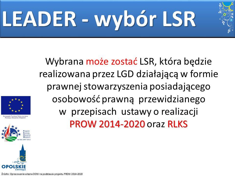 Źródło: Opracowanie własne DOW na podstawie projektu PROW 2014-2020 LEADER - wybór LSR PROW 2014-2020 RLKS Wybrana może zostać LSR, która będzie reali