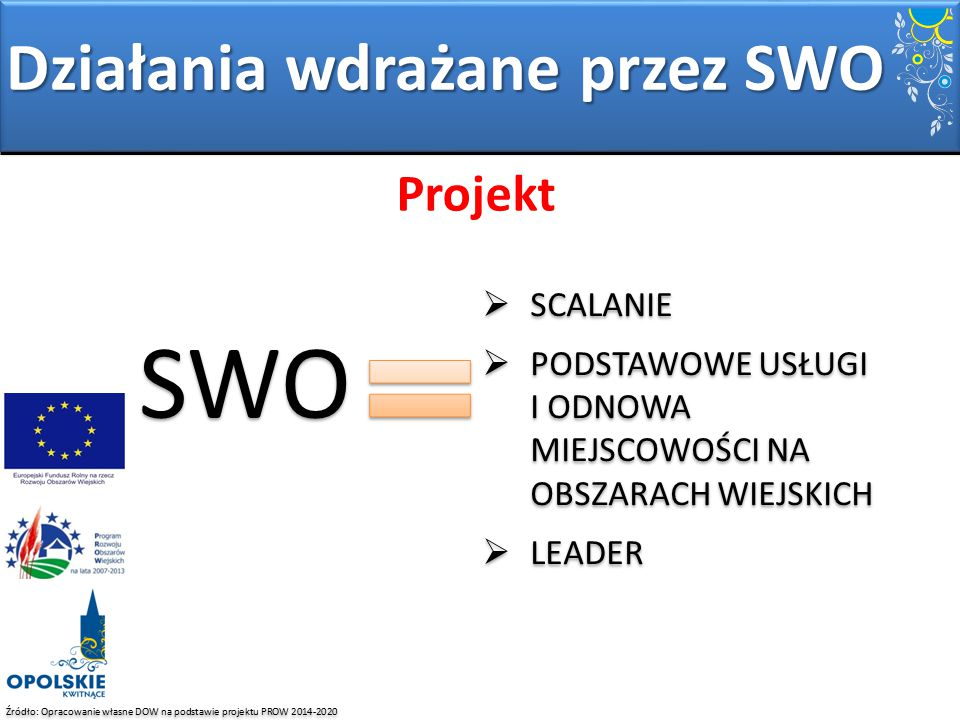 Źródło: Opracowanie własne DOW na podstawie projektu PROW 2014-2020 Projekt Działania wdrażane przez SWO SWO  SCALANIE  PODSTAWOWE USŁUGI I ODNOWA M