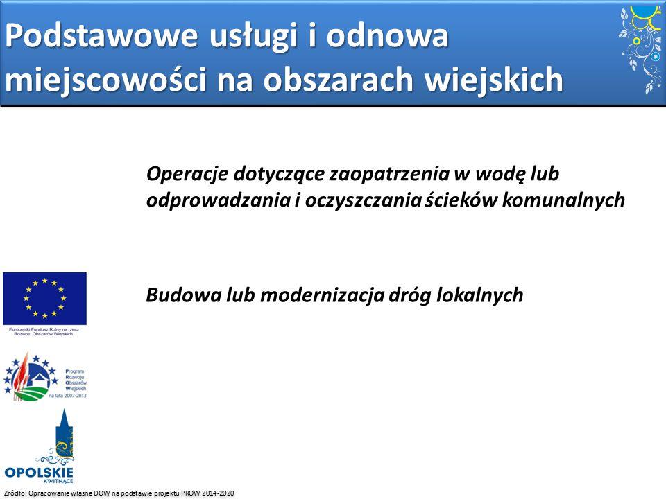 Źródło: Opracowanie własne DOW na podstawie projektu PROW 2014-2020 Podstawowe usługi i odnowa miejscowości na obszarach wiejskich Operacje dotyczące