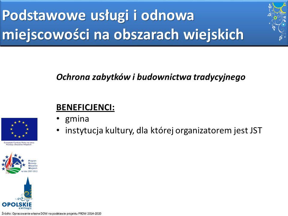 Źródło: Opracowanie własne DOW na podstawie projektu PROW 2014-2020 Ochrona zabytków i budownictwa tradycyjnego BENEFICJENCI: gmina instytucja kultury