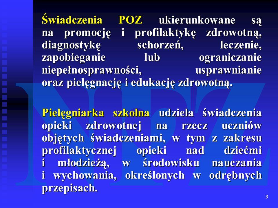 3 Świadczenia POZ ukierunkowane są na promocję i profilaktykę zdrowotną, diagnostykę schorzeń, leczenie, zapobieganie lub ograniczanie niepełnosprawno