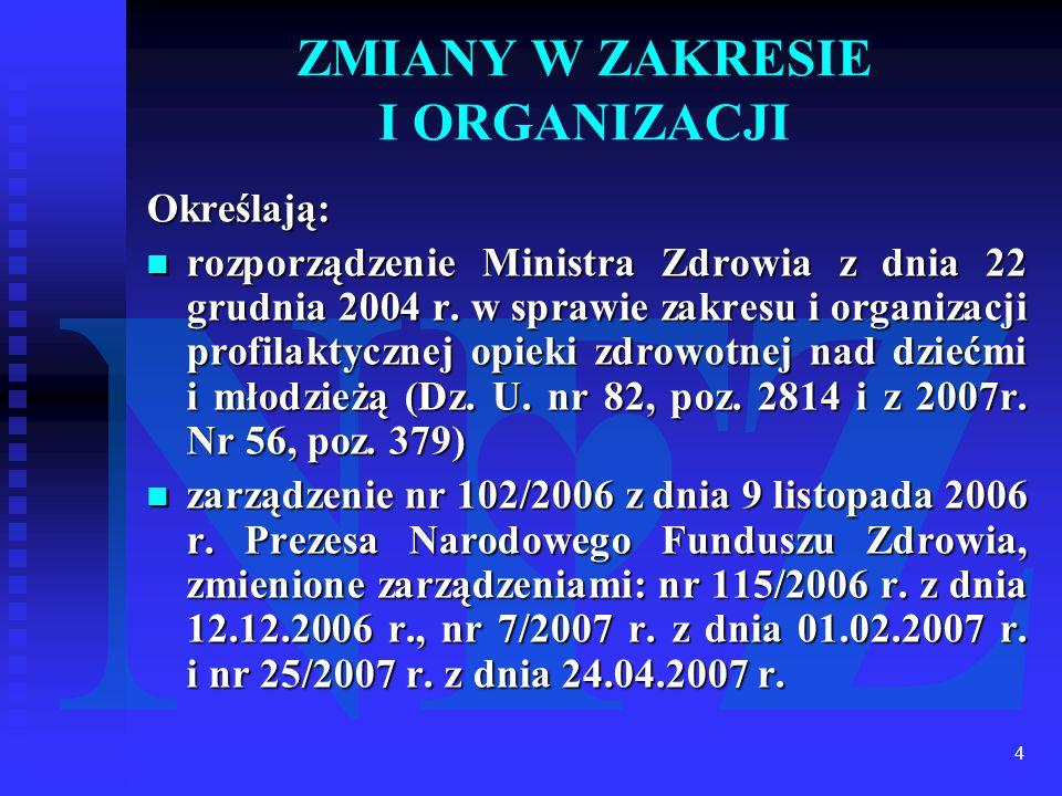 4 ZMIANY W ZAKRESIE I ORGANIZACJI Określają: rozporządzenie Ministra Zdrowia z dnia 22 grudnia 2004 r. w sprawie zakresu i organizacji profilaktycznej