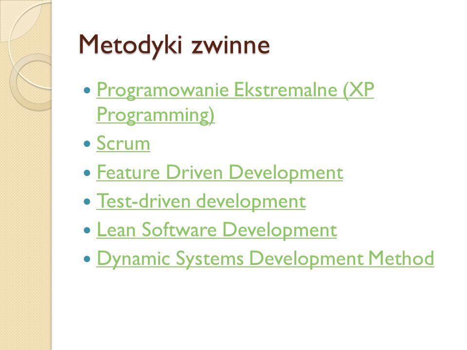 Metodyki zwinne Programowanie Ekstremalne (XP Programming) Programowanie Ekstremalne (XP Programming) Scrum Feature Driven Development Test-driven dev