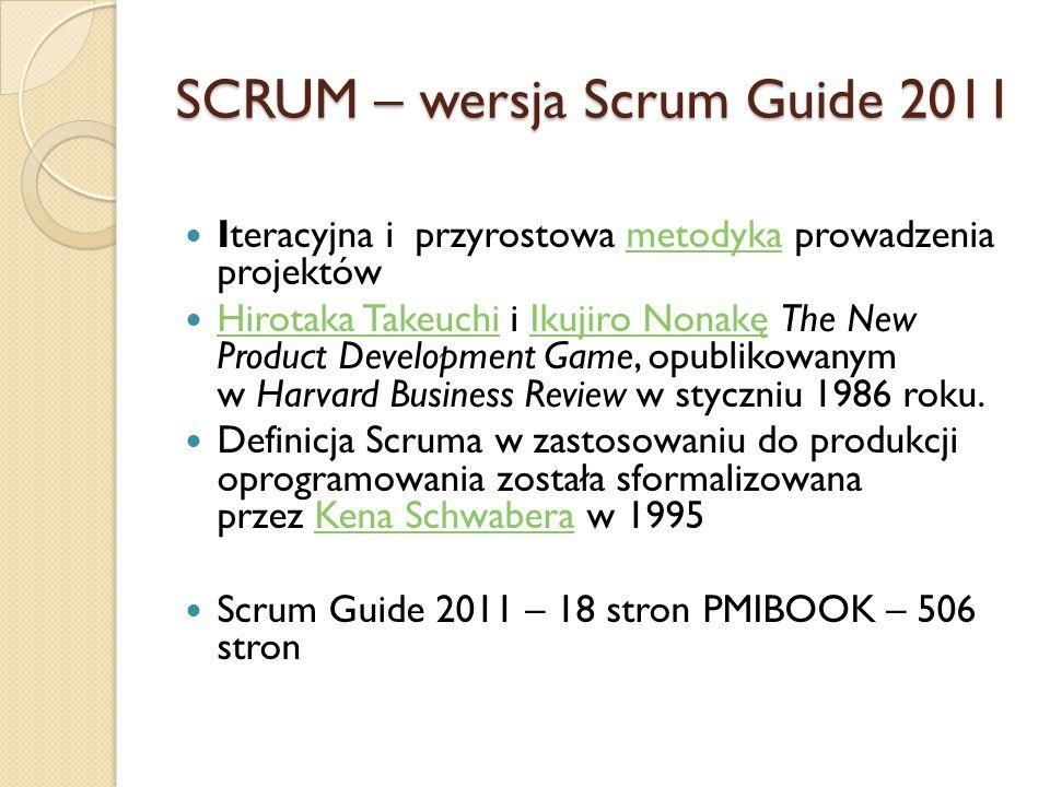 SCRUM – role Właściciel produktu (Product Owner) – odpowiedzialny za wizję produktu, maksymalizację wartości wyników zespołu, zarządza Rejestrem Produktu Scrum Master – pilnuje przestrzegania zasad, chroni zespół przed niepożądanymi interakcjami zewnętrznymi, coachuje zespół, pomaga PO w zarządzaniu Rejestrem Produktu, usuwa blokady Zespół developerski (Development Team) – zespół profesjonalistów, którzy dostarczają produkt na koniec każdego Sprintu, samoorganizuje się (nie ma struktury formalnej)