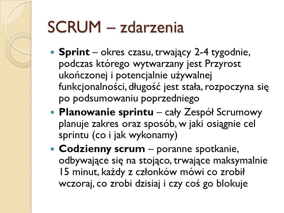 SCRUM – zdarzenia cd Przegląd sprintu – spotkanie na zakończenie sprintu, podczas którego dokonywana jest inspekcja Przyrostu, wraz z interesariuszami omawiane jest, co zostało wykonane podczas sprintu Retrospektywa sprintu – inspekcja działań zespołu podczas sprintu, propozycje usprawnień, omówienie mocnych i słabych stron