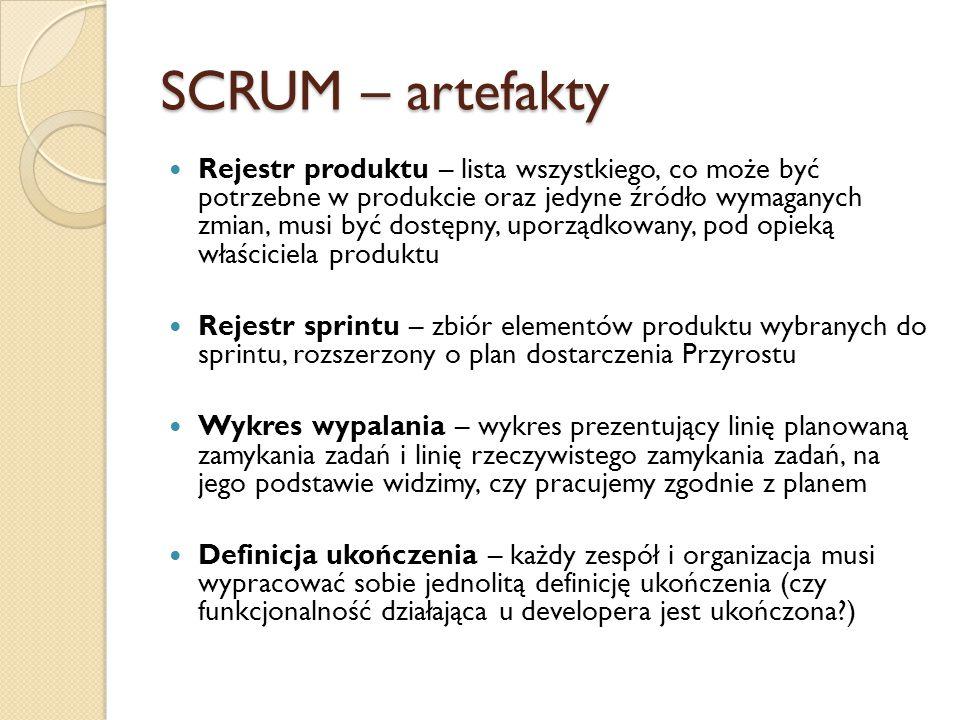 SCRUM – artefakty Rejestr produktu – lista wszystkiego, co może być potrzebne w produkcie oraz jedyne źródło wymaganych zmian, musi być dostępny, upor