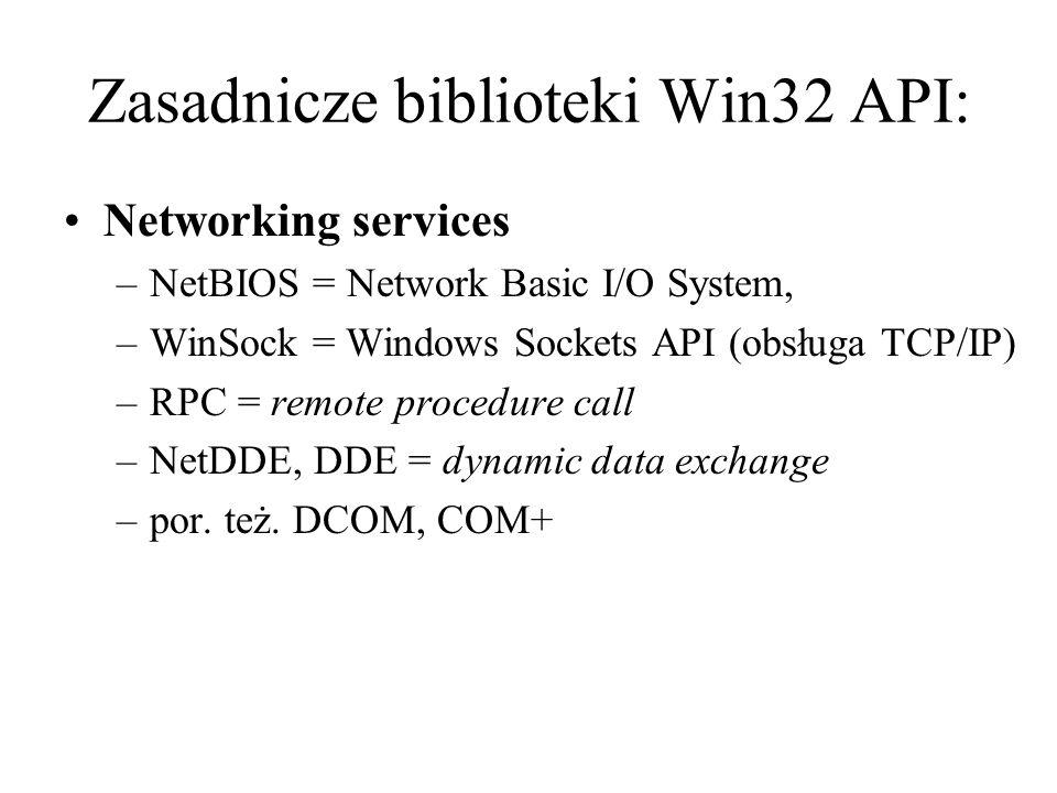 Zasadnicze biblioteki Win32 API: Networking services –NetBIOS = Network Basic I/O System, –WinSock = Windows Sockets API (obsługa TCP/IP) –RPC = remot
