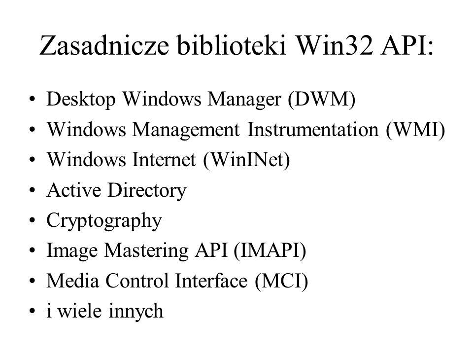 Zasadnicze biblioteki Win32 API: Desktop Windows Manager (DWM) Windows Management Instrumentation (WMI) Windows Internet (WinINet) Active Directory Cr