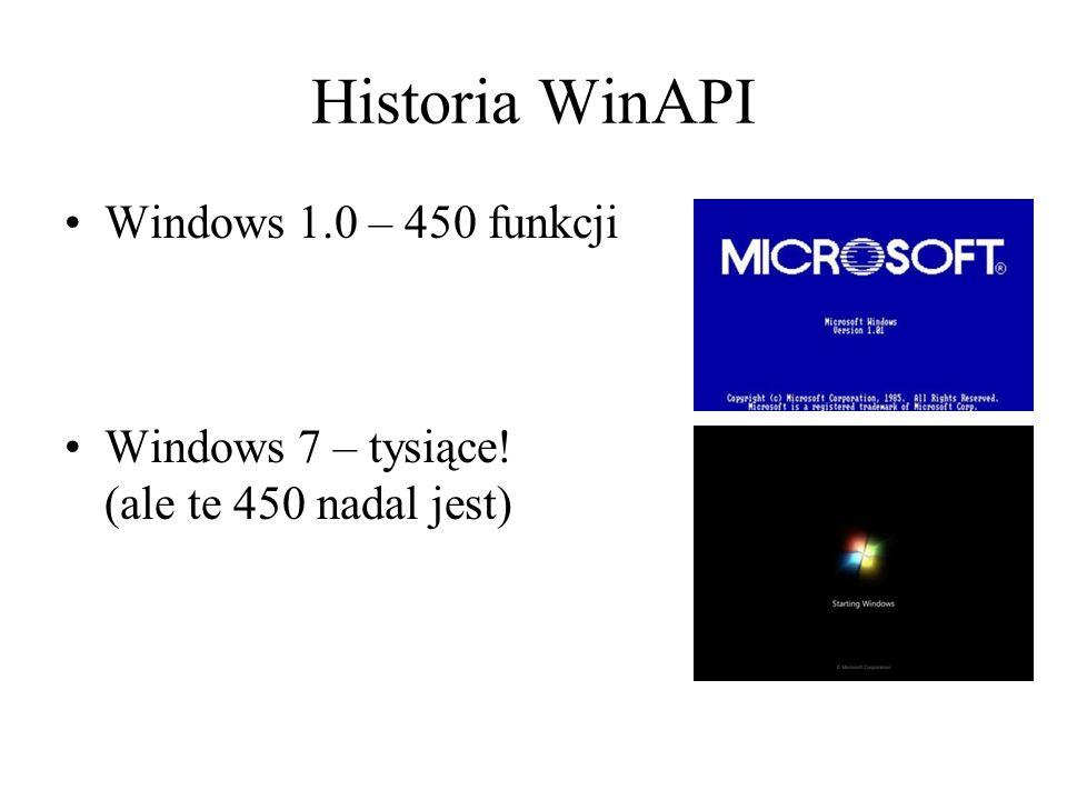 Historia WinAPI Windows 1.0 – 450 funkcji Windows 7 – tysiące! (ale te 450 nadal jest)