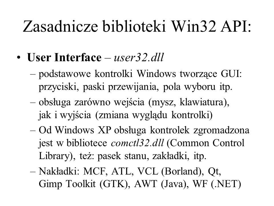 Zasadnicze biblioteki Win32 API: User Interface – user32.dll –podstawowe kontrolki Windows tworzące GUI: przyciski, paski przewijania, pola wyboru itp