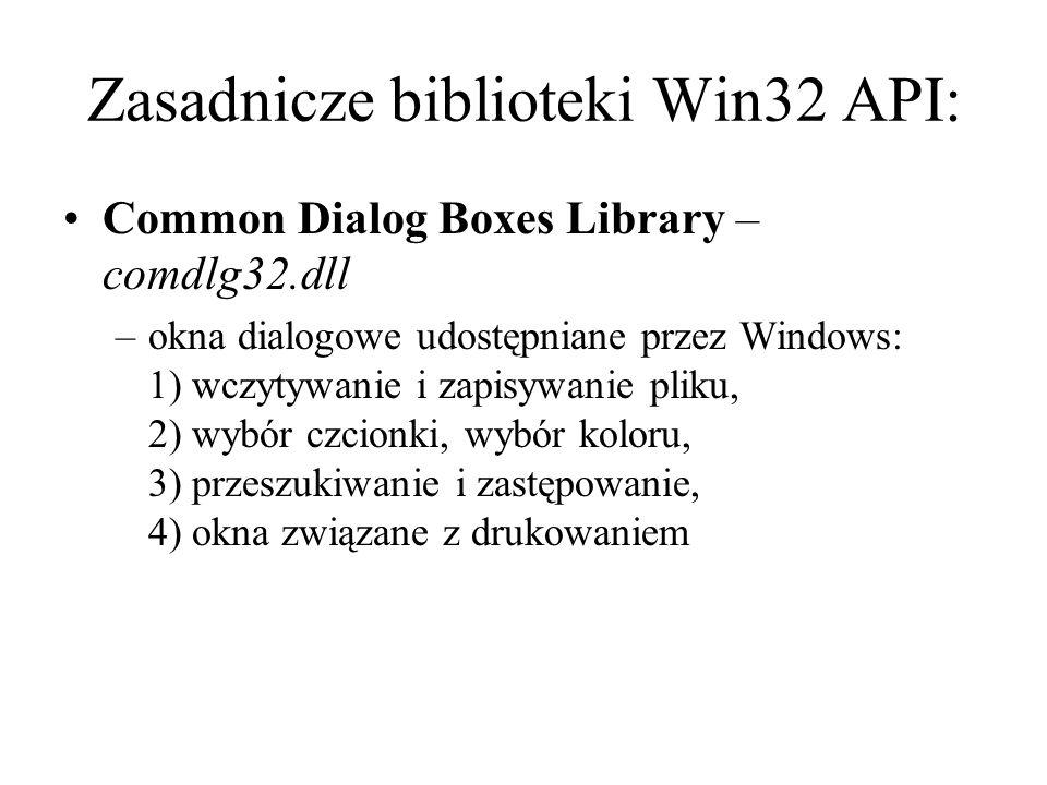 Zasadnicze biblioteki Win32 API: Common Dialog Boxes Library – comdlg32.dll –okna dialogowe udostępniane przez Windows: 1) wczytywanie i zapisywanie p