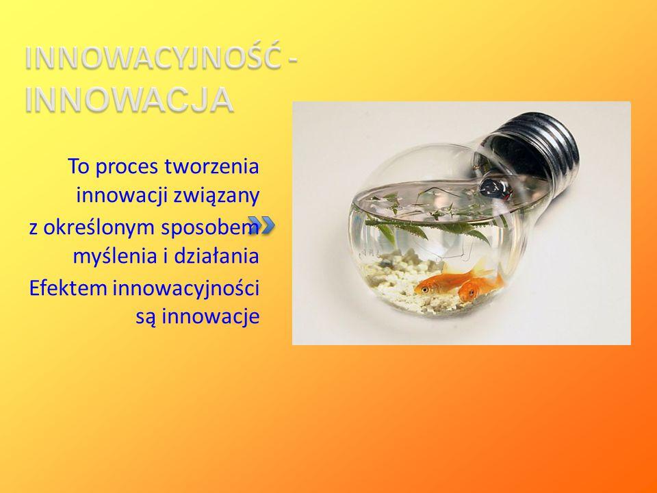 INNOWACYJNOŚĆ - INNOWACJA To proces tworzenia innowacji związany z określonym sposobem myślenia i działania Efektem innowacyjności są innowacje