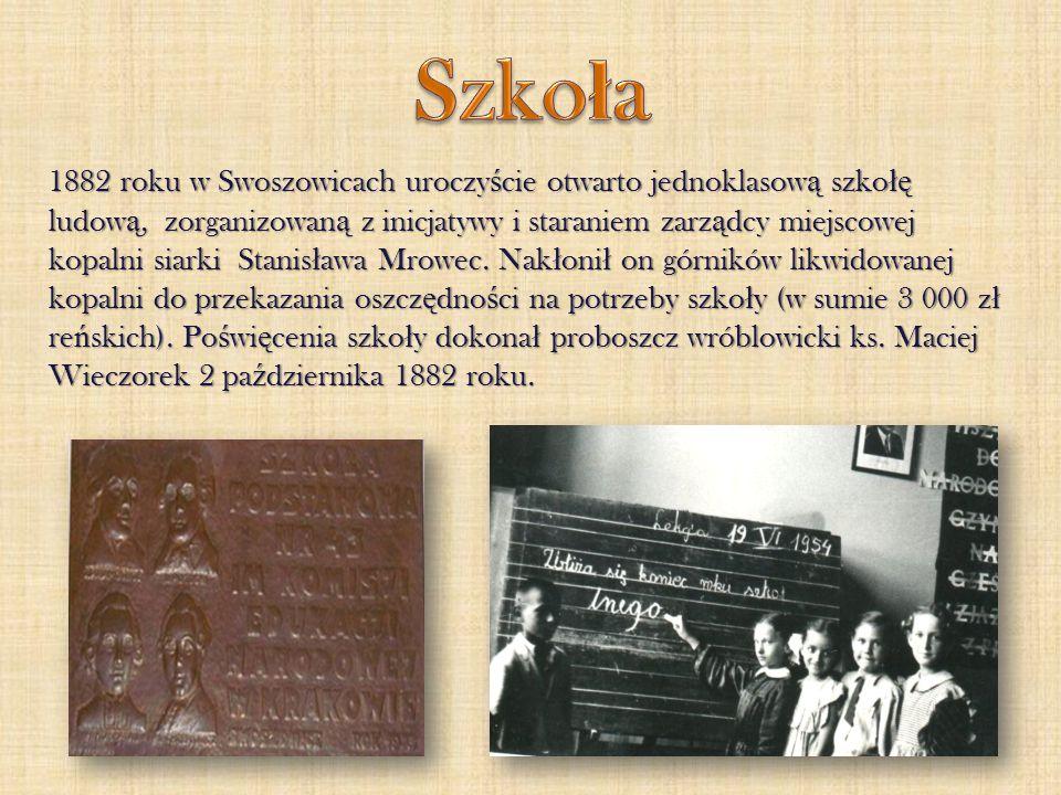 1882 roku w Swoszowicach uroczy ś cie otwarto jednoklasow ą szko łę ludow ą, zorganizowan ą z inicjatywy i staraniem zarz ą dcy miejscowej kopalni sia