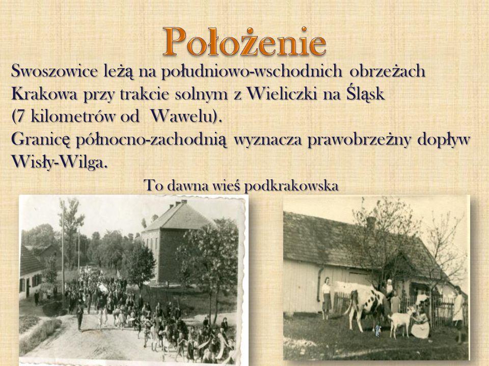 Swoszowice le żą na po ł udniowo-wschodnich obrze ż ach Krakowa przy trakcie solnym z Wieliczki na Ś l ą sk (7 kilometrów od Wawelu). Granic ę pó ł no