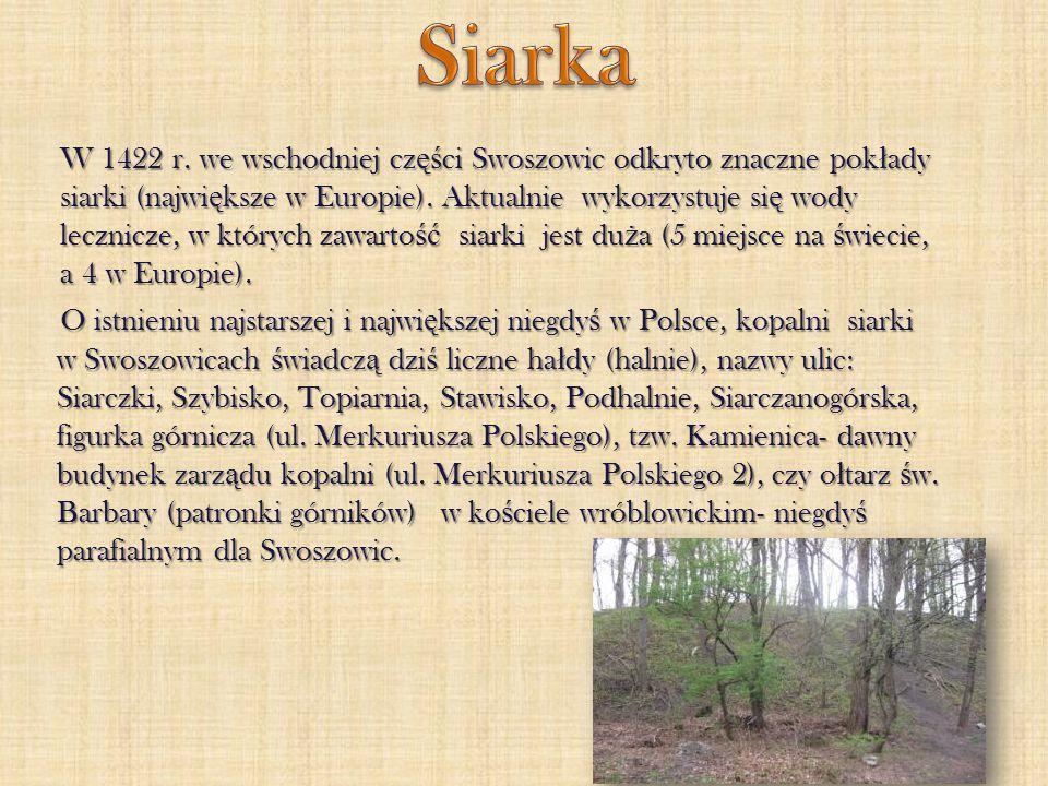 W 1422 r. we wschodniej cz ęś ci Swoszowic odkryto znaczne pok ł ady siarki (najwi ę ksze w Europie). Aktualnie wykorzystuje si ę wody lecznicze, w kt