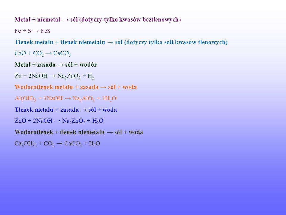 Metal + niemetal → sól (dotyczy tylko kwasów beztlenowych) Fe + S → FeS Tlenek metalu + tlenek niemetalu → sól (dotyczy tylko soli kwasów tlenowych) C